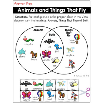 animals and flying things venn diagram worksheet by the kinder kids. Black Bedroom Furniture Sets. Home Design Ideas