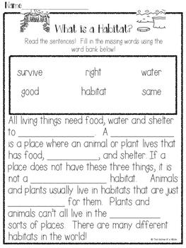 Animals and Habitats: Common Core Aligned (Domain 8)