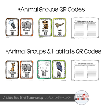 Animals and Habitats QR Code Cards