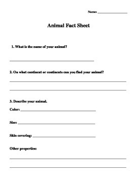 Animals and Habitats Recording Sheet