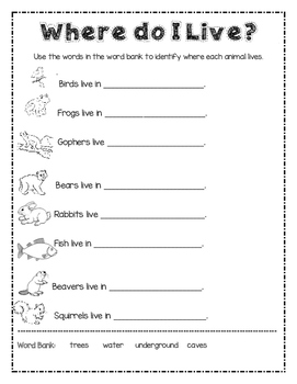 Animals and Habitats Unit Plan and Workbook