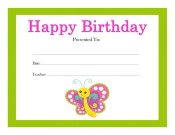 Animals and Insects Birthday Certificates (111 Certificates)