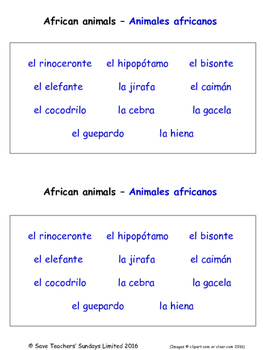 Animals and Nature in Spanish Worksheets