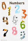 Animals and Numbers Cards Set 0-9