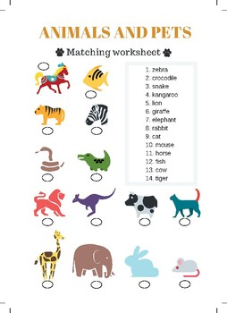 Animals and Pets Matching Worksheet