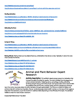 Animals and Plant Behavior Expert Research