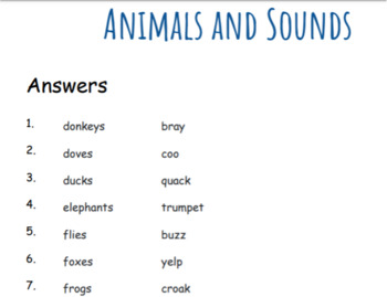 Animals and Sounds