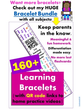 Animals and Their Young Bracelets Homework with QR Codes {Kindergarten}