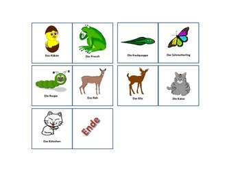 Animals and their Babys - German - Domino Game
