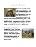 Animals and their Characteristics