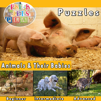 Animals and their babies: Puzzle Printables