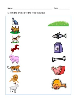 animals and their food worksheet by rituparna reddi tpt. Black Bedroom Furniture Sets. Home Design Ideas