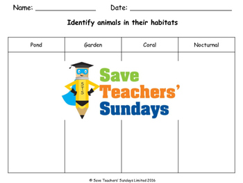 Animals and their habitats (online activities) Lesson plan and Worksheets