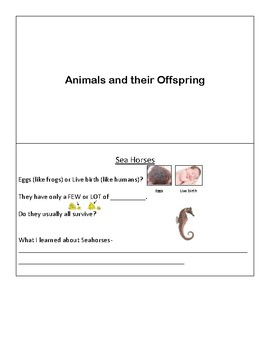 Animals and their offspring - mini book