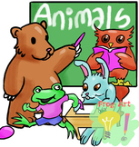 Animals at school! - Lineart and color CLIPARTS