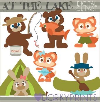 Animals at the Lake Clip Art