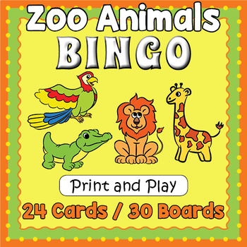 Zoo Animals Bingo - Zoo Animals Game