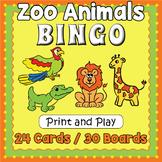 Zoo Animals BINGO & Memory Matching Card Game Activity
