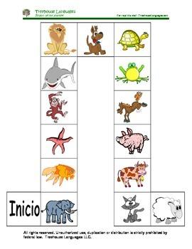 Animals board game.