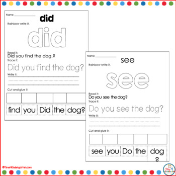 Animals build a Sentence: Pocket Chart and Cut and Glue Activities