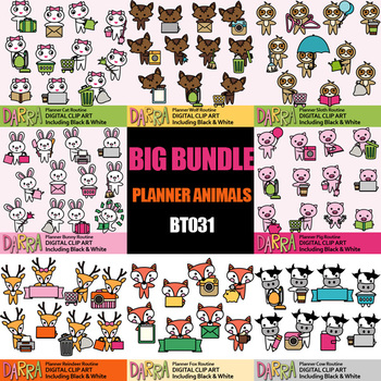 Animals characters Chores Clipart Bundle Vol. 9, planner stickers clip art