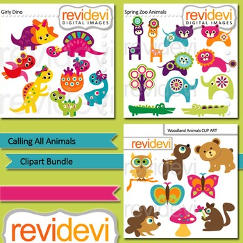 Animals clip art bundle (3 packs): Calling All Animals