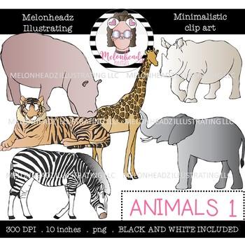 Animals clip art - set 1 - Minimal Style - Mini - Melonheadz Clipart