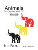 Animals for Children With CVI: Red on White, Yellow on White, Black on White