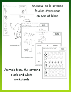 Animals from the savanna worksheet Black and white Français english