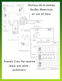Animals from the savanna worksheet Black and white Françai