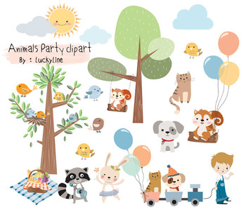 Animals fun park, woodland clipart Instant Download PNG file - 300 dpi