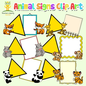 Animals holding signs clip art - (Add your own text) warni