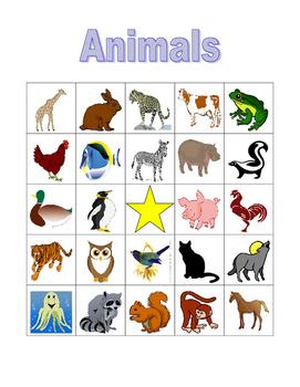Animals in English Bingo game