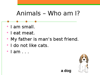 Animals in English Who am I