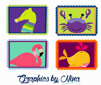 Animals in Frames Clipart