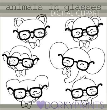 Animals in Glasses Clip Art