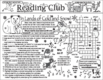 Animals in Lands of Ice and Snow Two-Page Activity Set