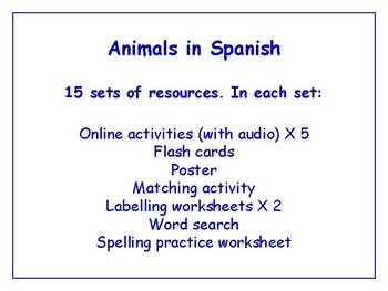 Animals in Spanish Bundle - Worksheets, Games, Activities & More (with audio)