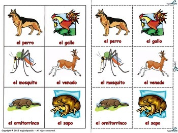 Animals in Spanish - Lottery