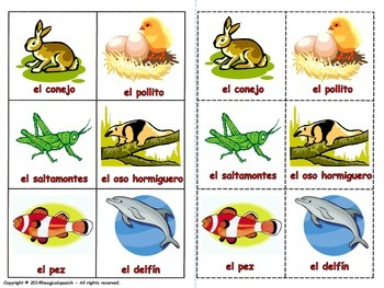Animals in Spanish. Lottery Game (Board game)