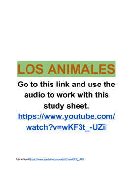 Animals in Spanish (listening activity)