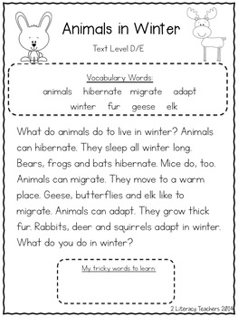Animals in Winter: CCSS Aligned Leveled Reading Passages and Activities