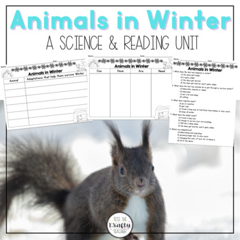 Animals in Winter Science Unit, close read, activities, fun