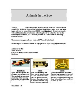 Animals in the Zoo (Microsoft Word Project)