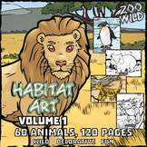 Animals in their Habitat -- Coloring Page & Poster Combo -- Volume 1