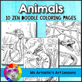 Animal Coloring Pages, Zen Doodles