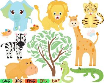 Animals jungle clip art svg zoo wild forest lion giraffe tiger woodland -93s