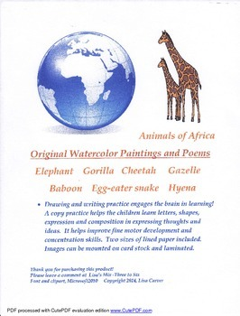 Animals of Africa    Original Watercolor Paintings and Poems