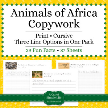Animals of Africa Unit - Copywork - Print - Handwriting