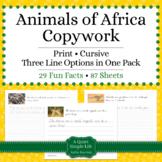 Animals of Africa Unit - Copywork - Print and Cursive - Handwriting